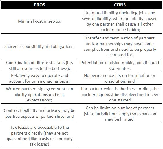 pros and cons of different business structures in